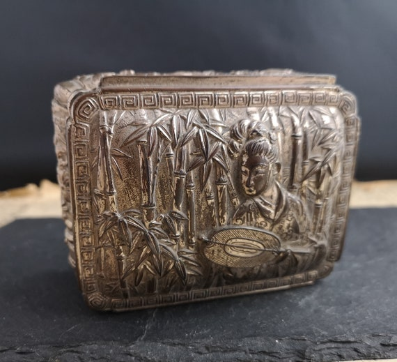 Vintage silver plated jewellery box, Japanese