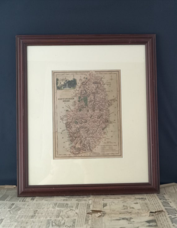 Antique map of Nottinghamshire, engraving, early Victorian