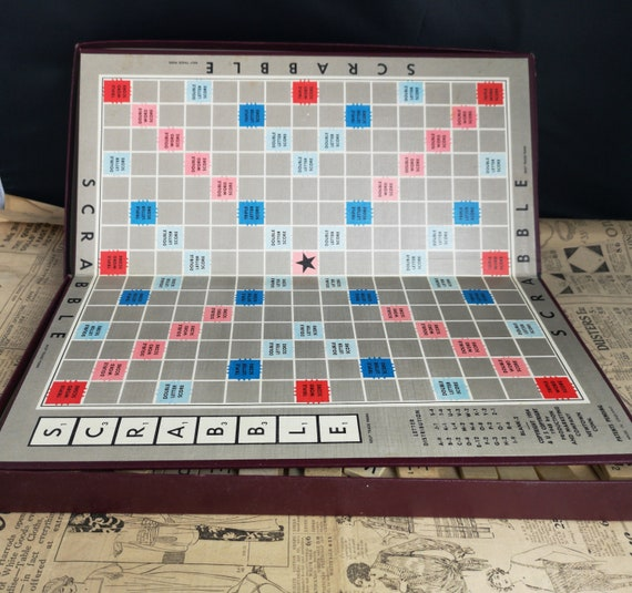 Vintage 50's scrabble game, wooden pieces, vintage board games