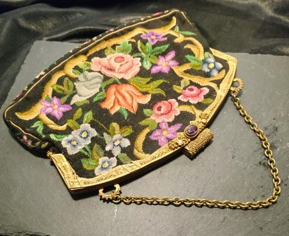 Antique tapestry evening purse, gilt and paste frame, embroidered purse, jewelled