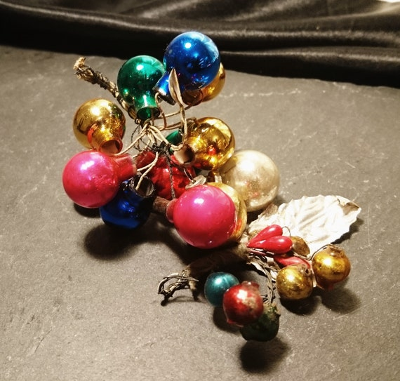 Antique Christmas baubles, mini baubles, Christmas spray