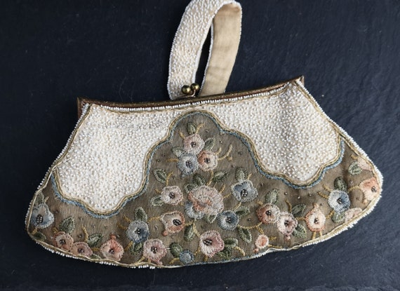 Vintage French beaded purse, Art Deco, clutch purse, embroidered