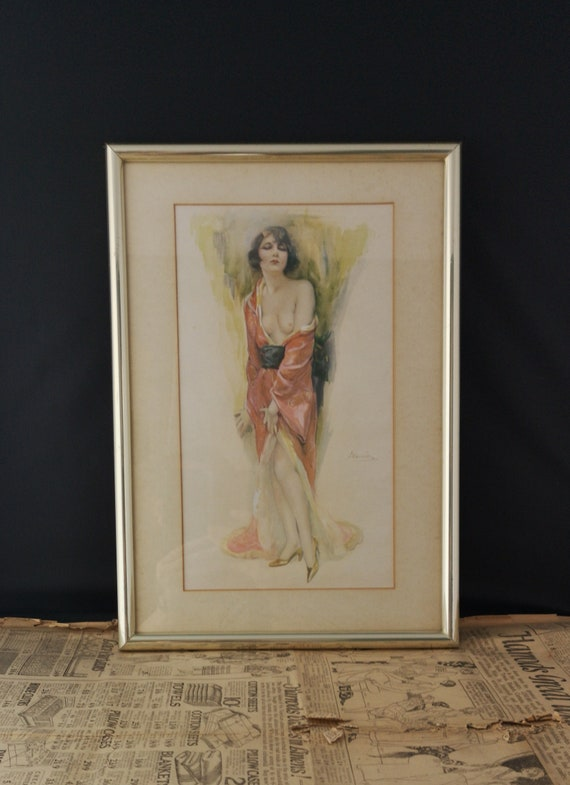 Vintage French Art Deco nude print, 1920's