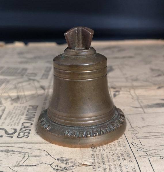 Vintage brass bell, Queens coronation, Royal memorabilia, 1950's