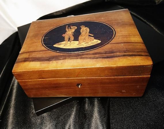 Vintage folk art box, veneered wooden trinket box, lockable with no key