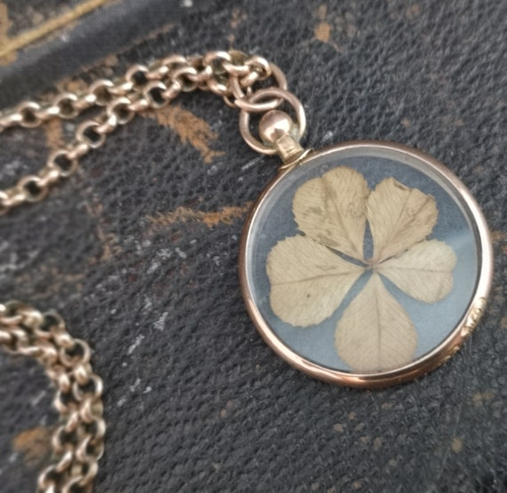 Antique gold shamrock pendant, lucky clover, rose gold necklace
