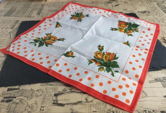 Vintage 1940's floral print handkerchief