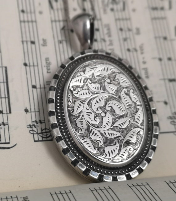 Antique silver locket, Victorian aesthetic era double picture locket, silver necklace