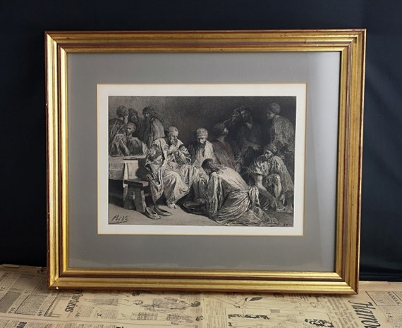Antique French religious print, engraving, Jesus bathes the feet of the disciples