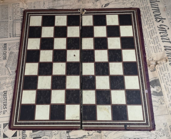 Vintage 30's chess board, draughts board