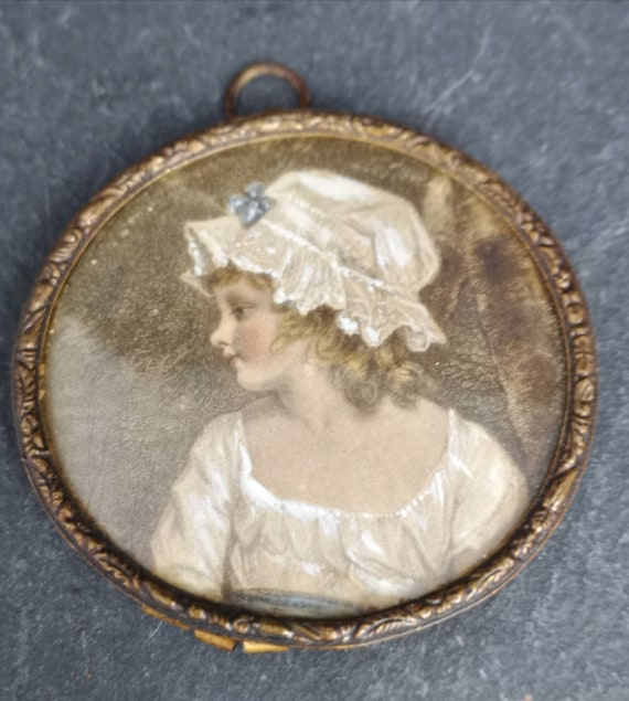 Antique portrait miniature of a young girl, Victorian