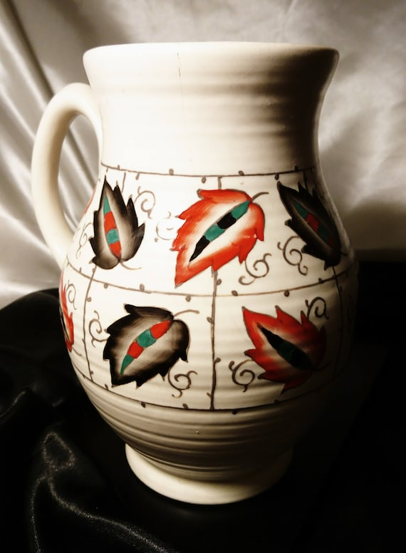 Vintage Crown Ducal jug, unrecorded pattern, shape number 146, Charlotte Rhead style