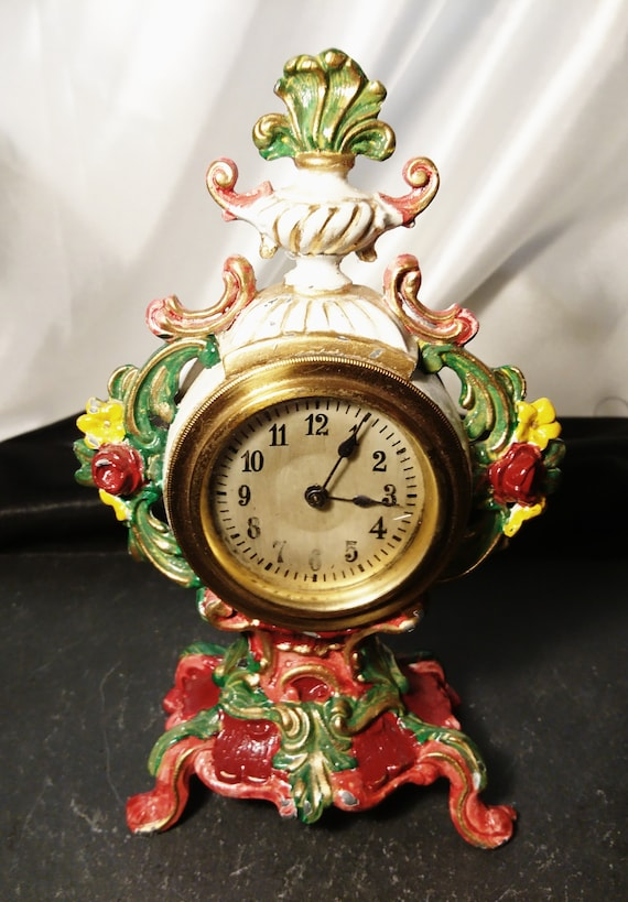 Antique French mantle clock, garniture clock, hand painted