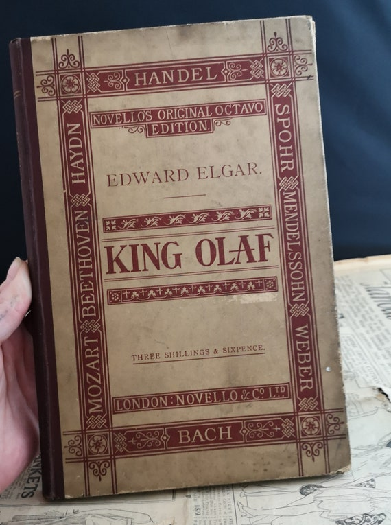 Antique Opera book, King Olaf, Bach, Victorian music book