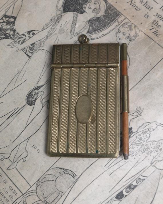 Vintage gilt aide memoir, 1930's, notepad