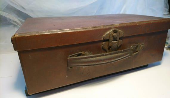 Antique miniature suitcase, childs suitcase, Edwardian travel case
