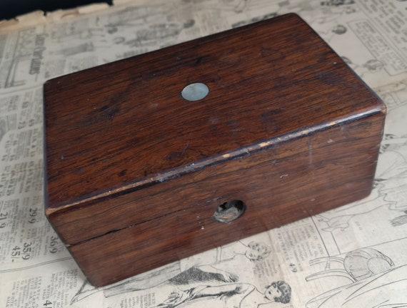 Rustic antique box, rosewood and mother of pearl, small Victorian box