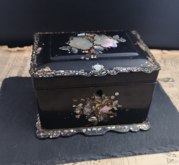 Victorian papier mache tea caddy, inlaid, Jennens and Betteridge