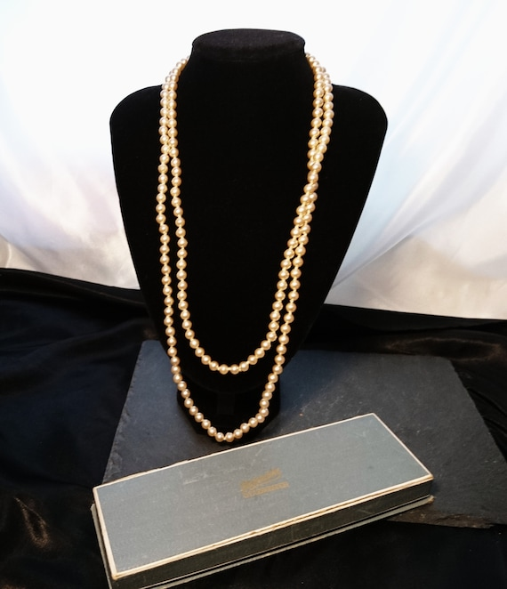 Vintage faux pearl necklace, 1920's long faux glass pearls, Art Deco, gatsby, flapper style
