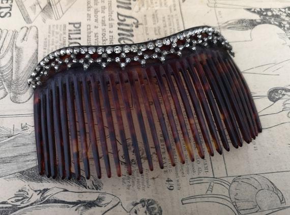 Antique Edwardian paste hair comb, celluloid, faux tortoiseshell