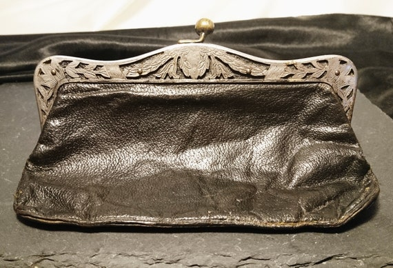 Antique leather coin purse, Art Nouveau silver plated frame, kiss lock clasp