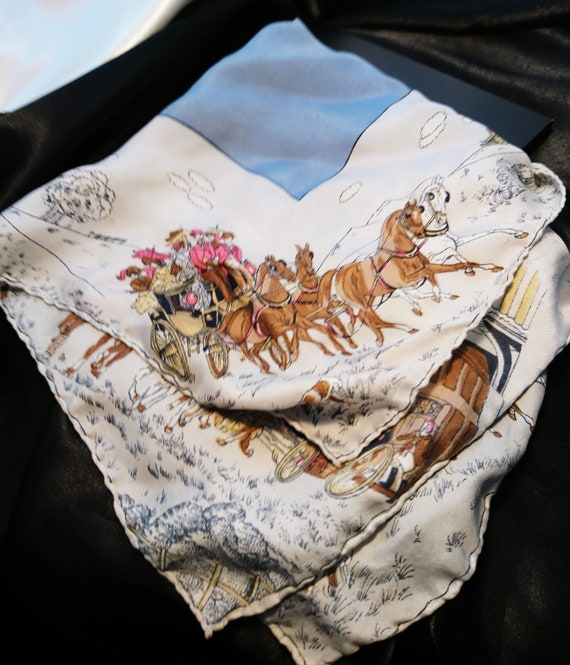 Large Edwardian silk handkerchief, horses and winter, antique handkerchief