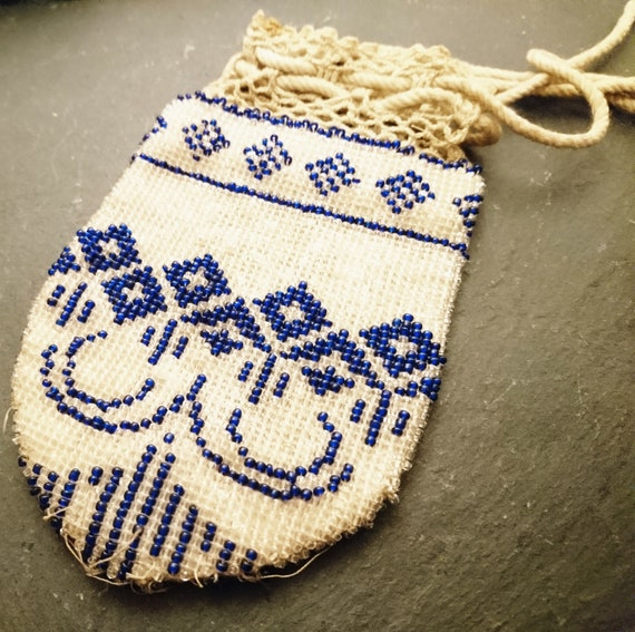 Antique Georgian purse, beadwork, reticule purse, George III, coin pouch