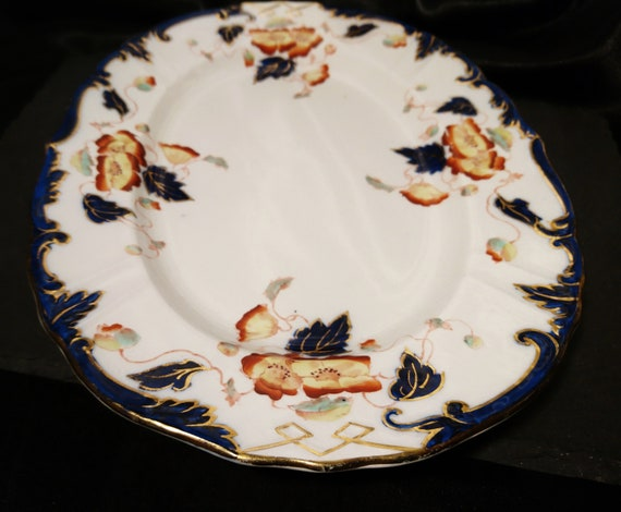 Antique oval serving plate, W A Adderley, Lisbon Imari, Victorian hors d'oeuvres plate