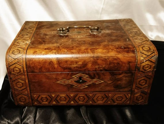 Victorian sewing box, walnut and straw work inlaid parquetry box, large antique box, lockable