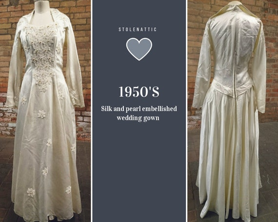 Vintage wedding dress, silk and pearl wedding gown, designer, Laura Phillips, 1950's