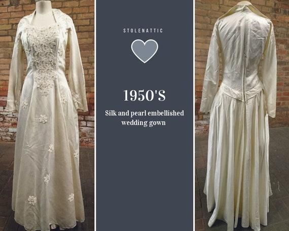 Vintage wedding dress, silk and pearl wedding gown, designer, Laura Phillips, 1950's