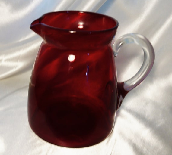 Antique cranberry glass jug, Victorian hand blown dumpy jug