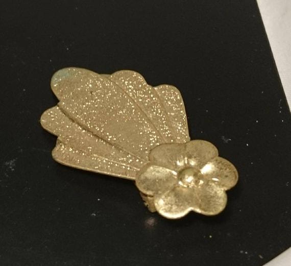 Vintage 50's dress clip, gold tone floral clothing clip