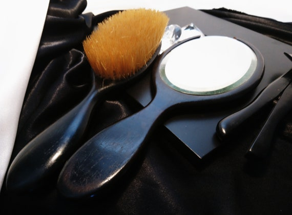 Antique vanity set, ebony and sterling silver, dressing table set