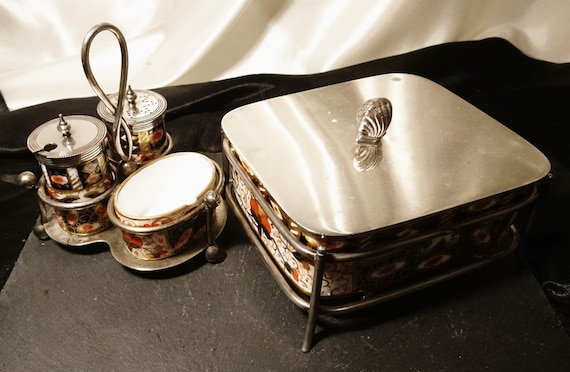 Antique cruet set and butter dish, Davenport Longport, Witches Imari, ceramic and silver plate, salt, pepper, mustard