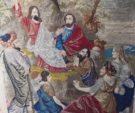 Antique Berlin woolwork tapestry, Jesus preaching, religious