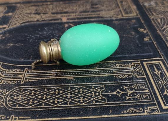 Antique Victorian egg scent bottle, green opaline glass
