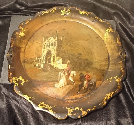 Early Victorian papier mache tray, gilt and hand painted, scene, signed Mechi