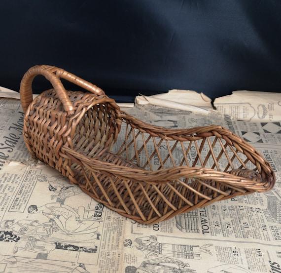 Vintage French basket, rustic scoop basket