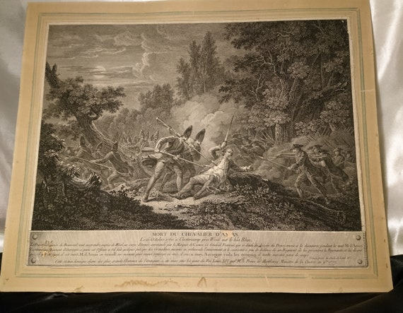 The death of the Knight of Assas, 18th century French antique print, Devisse after F J Casanova