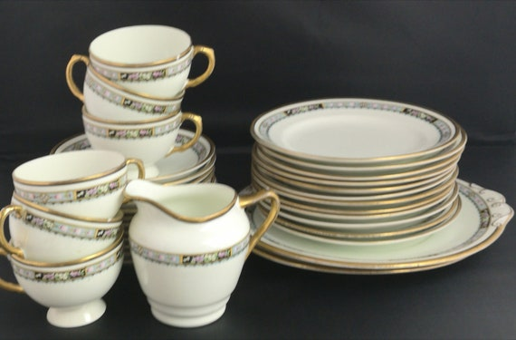 Antique tea set, Edwardian China tea cups, saucers, plates, Blyth