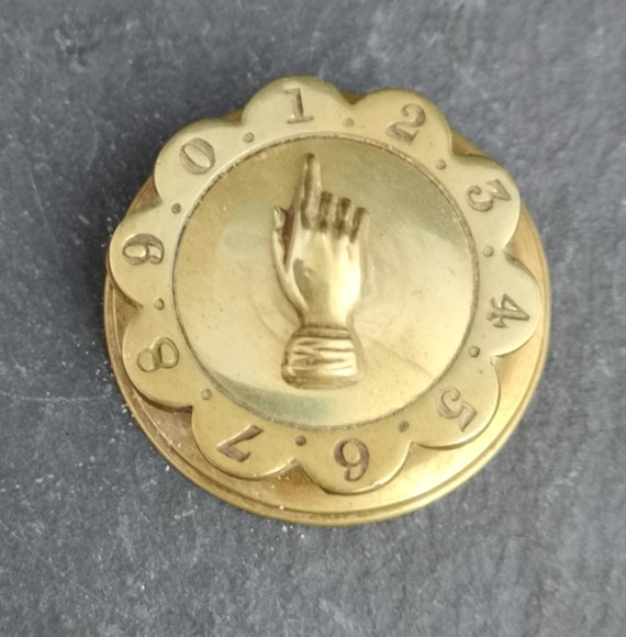 Antique brass whist marker, Victorian hand pointer, card games