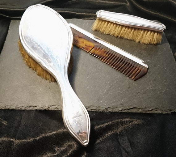 Vintage silver vanity set, brush set, dressing table
