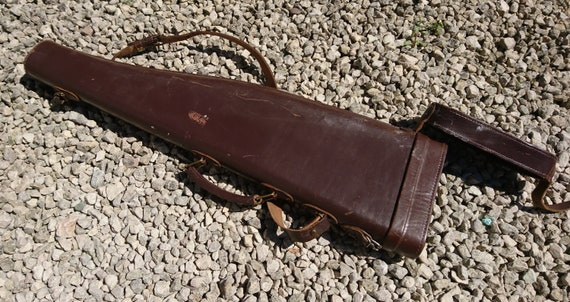 Victorian leg o mutton shotgun case, shotgun holder, hand tooled leather