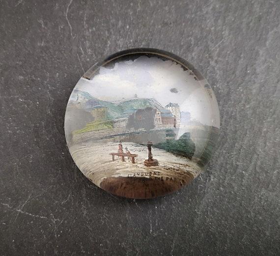 Antique paperweight, souvenir glass, Llandudno