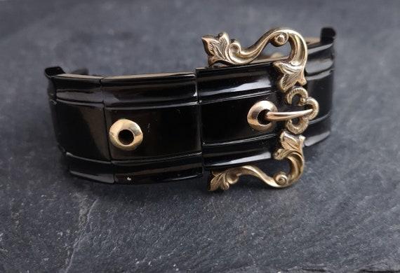 Antique Victorian whitby jet buckle bracelet, gold buckle