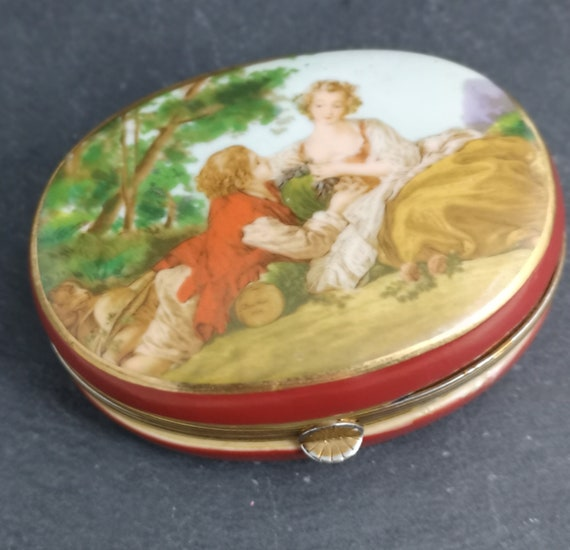 Antique French enamel box, hand painted, Romantic, trinket box