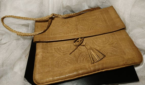 Antique leather handbag, Edwardian, satchel purse