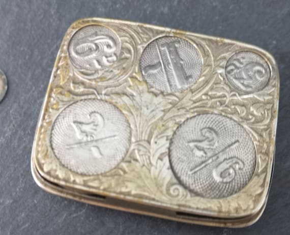 Antique coin holder, Art Nouveau silver plated, coin safe