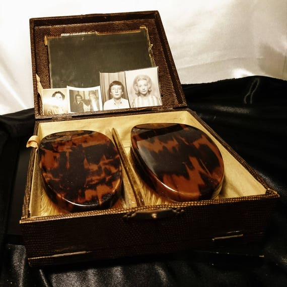 Gents vintage 1920's vanity travel set, brushes, comb, vintage photographs